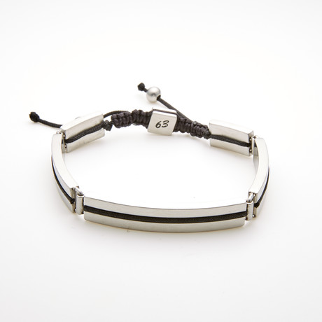 Rectangle Bar Adjustable Slider Bracelet // Black + White