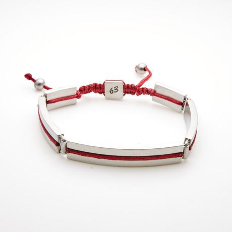 Rectangle Bar Adjustable Slider Bracelet // Red + White