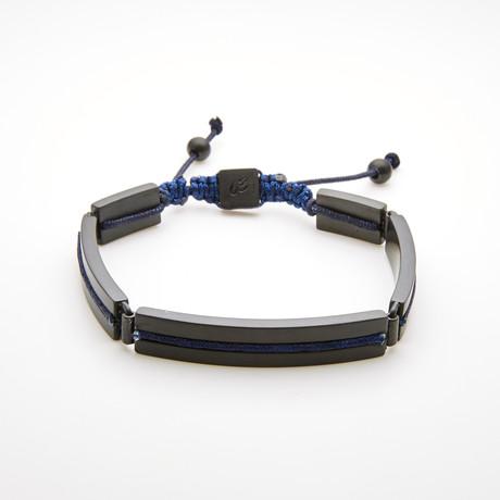 Rectangle Bar Adjustable Slider Bracelet // Black + Blue