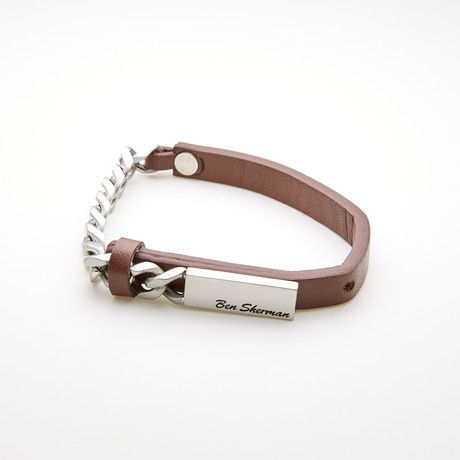 Leather Curb Chain Bracelet // Brown + White