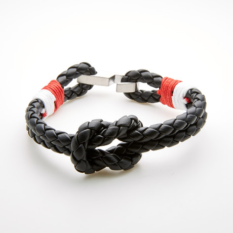 Double Layer Leather Knot Design Hook Bracelet // Red + White + Black