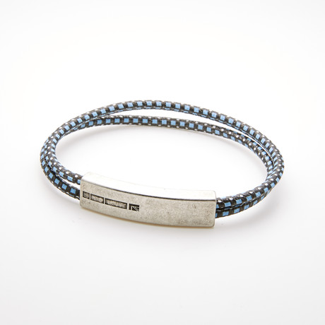 DOUBLE LAYER BRAIDED MAGNETIC CORD BRACELET // BLACK + BLUE