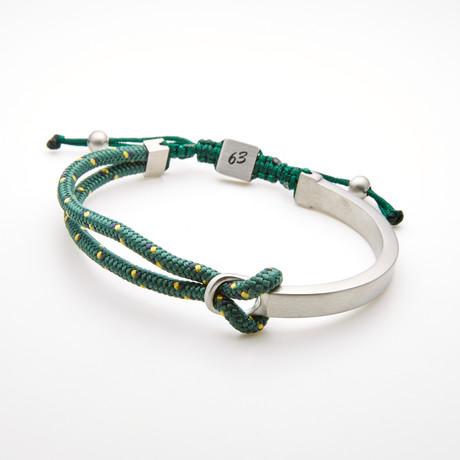 Double Layer Cord Bar Adjustable Slider Bracelet // Green + White