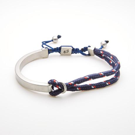Double Layer Cord Bar Adjustable Slider Bracelet // Navy Blue + White
