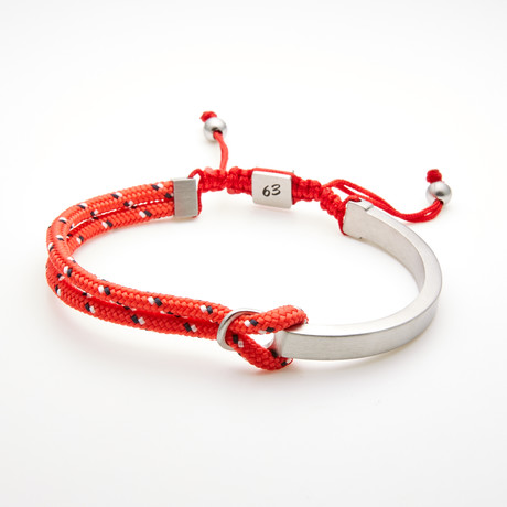 Double Layer Cord Bar Adjustable Slider Bracelet // Red + White
