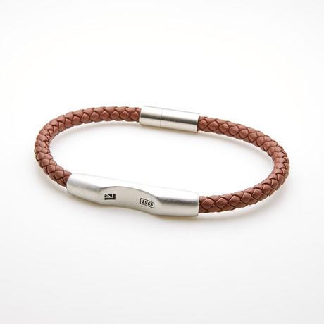 Braided Bar Station Magnetic Leather Bracelet // Brown + White