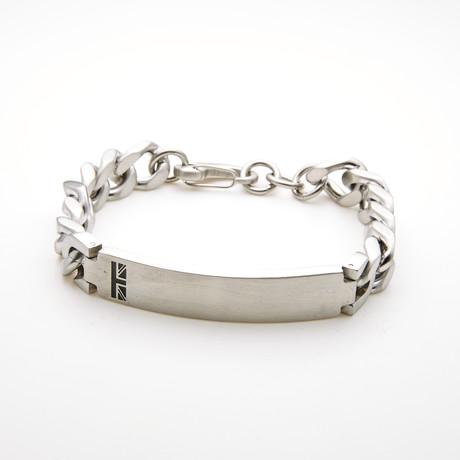 Polished ID Plate Curb Chain Link Bracelet // White