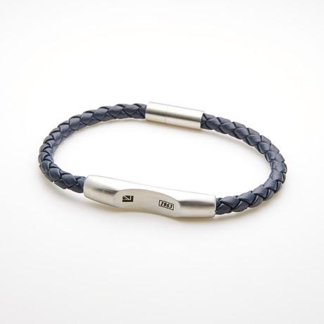Braided Bar Station Magnetic Leather Bracelet // Black + White