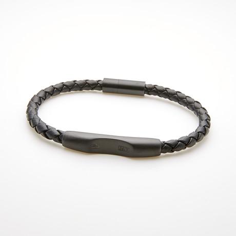 Braided Bar Station Magnetic Leather Bracelet // Black