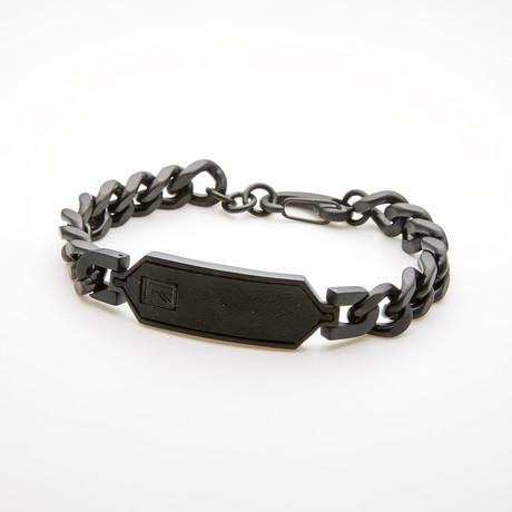 Leather ID Plate Curb Chain Bracelet // Black