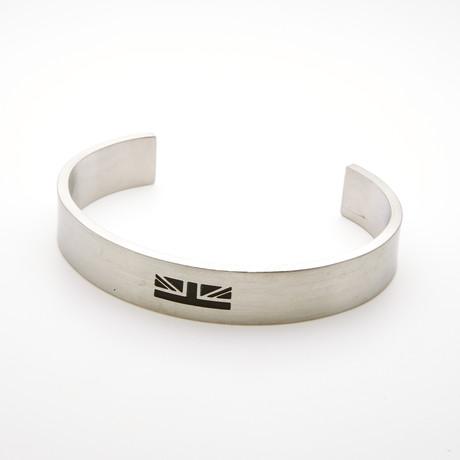British Flag Logo Cuff Bangle Bracelet // White