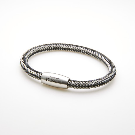 Braided Wire Magnetic Bracelet // Black + White