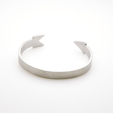 Arrow Design Open Cuff Bangle Bracelet // White