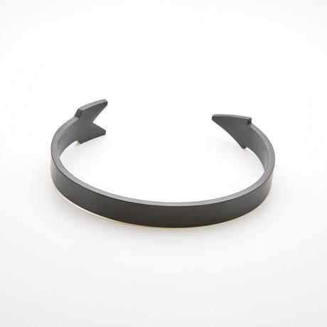 Arrow Design Open Cuff Bangle Bracelet // Black