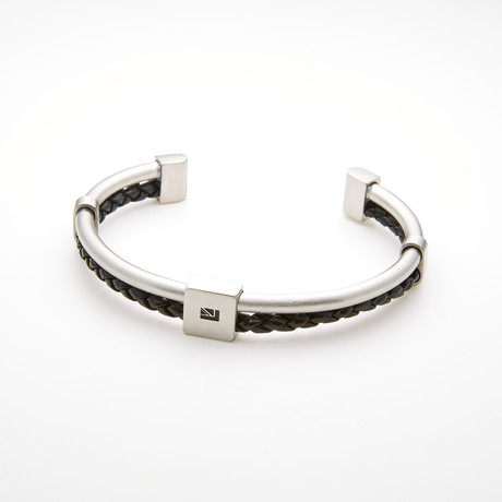Braided Leather Banded Open Cuff Bracelet // Black + White