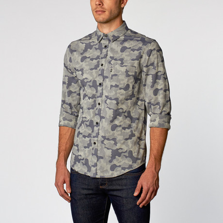 Lex I Jacquard Camouflage Button Up // Shadow Gray (S)