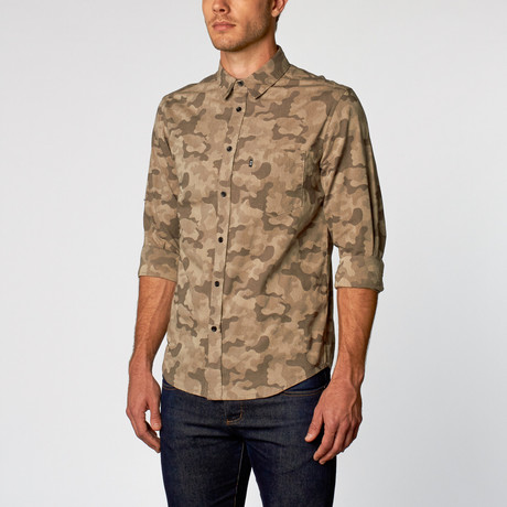 Lex II Jacquard Camouflage Button Up // Sea Blue (S)