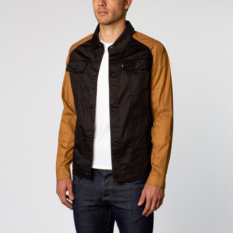 Braum Raglan Motor Riding Jacket // Black + Tan (S)