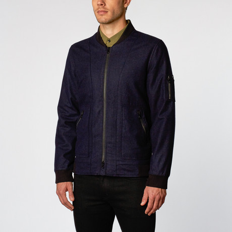 Pantheon Wool Bomber Jacket // Navy Blue (S)