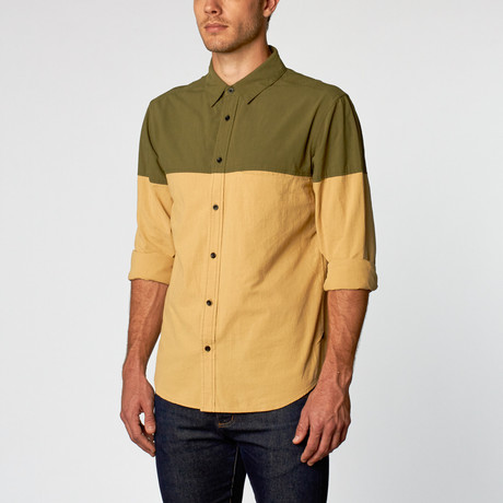 Nasus I Two Tone Button Up // Olive Green + Mellow Yellow (S)
