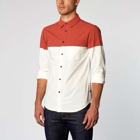 Nasus I Two Tone Button Up // Blood Orange + White (S)