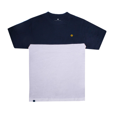 Crown Panel T-Shirt // Navy + White (S)