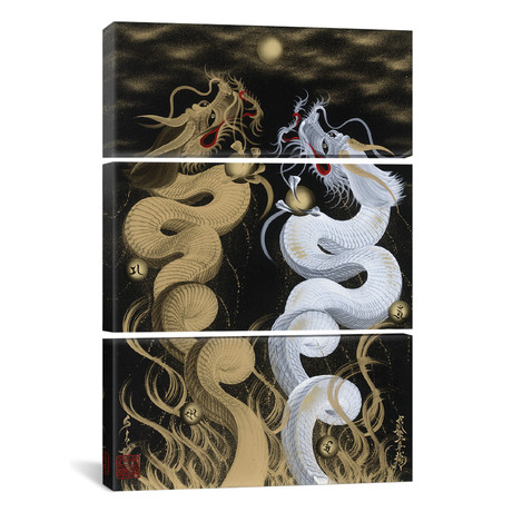 Flying Twin Dragons White & Gold // Triptych