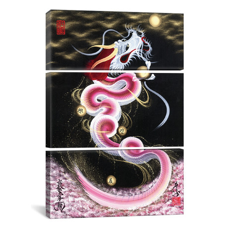 Cherry Blossom Rising Dragon To The Moon // Triptych