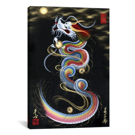 "Rainbow Rising Dragon To The Moon // One-Stroke Dragon (18""W x 26""H x 0.75""D)"