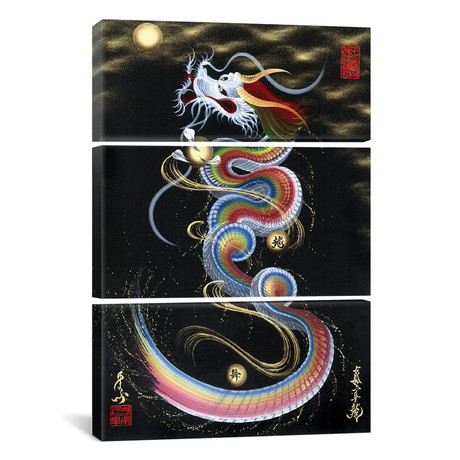Rainbow Risiing Dragon To The Moon // Triptych