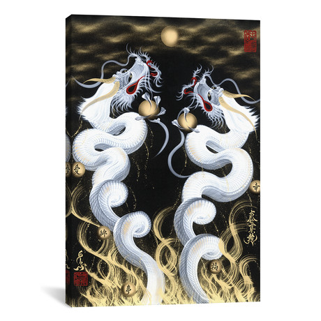 "Rising Twin White Dragon To The Moon (18""W x 26""H x 0.75""D)"