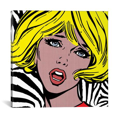 """Girl On Zebra Background (18""""W x 18""""H x 0.75""""D)"""
