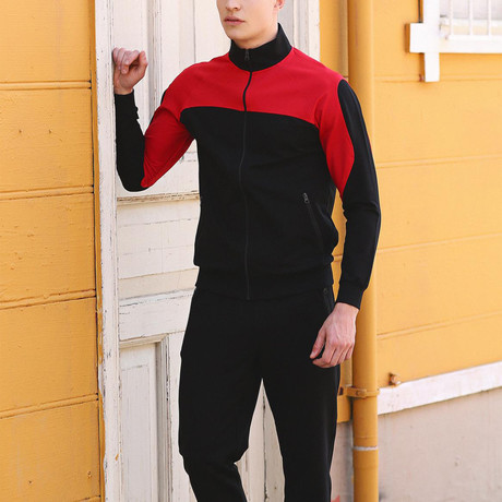 Aubrey Track Suit  // Black + Red (S)