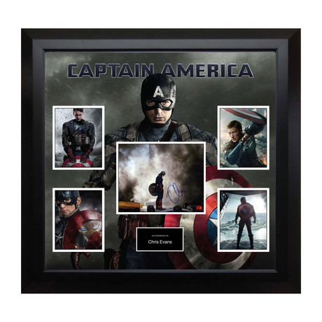 Signed + Framed Collage // Captain America