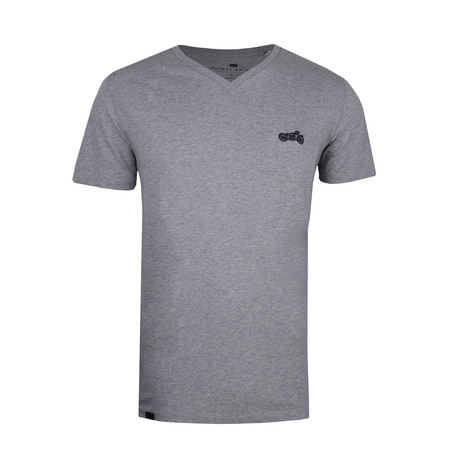Biker V Neck T-Shirt // Gray Marl (S)