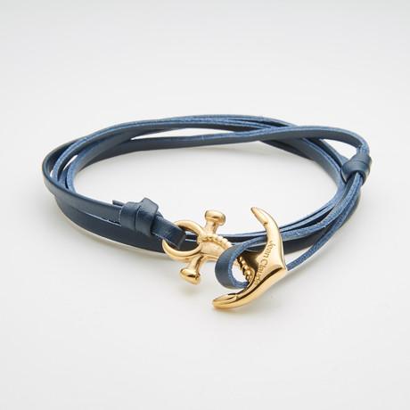 Multi-Wrap Leather Bracelet + Golden Anchor // Navy