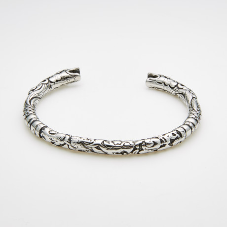 Dell Arte // Encrusted Stainless Steel Bangle // Silver