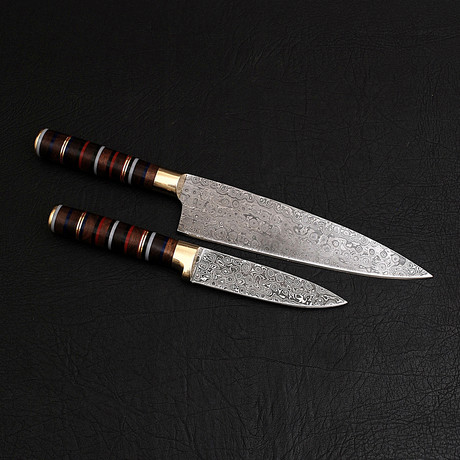 Damascus Chef Knife + Paring Knife // 2 Piece Set // 9855