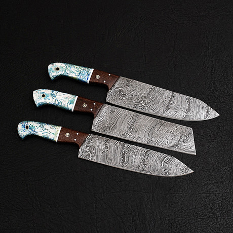 Damascus Chef Knife Set // 3 Piece Set