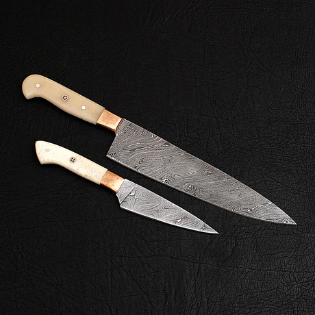 Damascus Chef's Knife + Paring Knife // 2 Piece Set // 9858