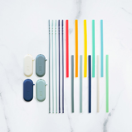 Silicone Straw // Rainbow Set // 10-Pack