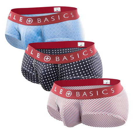 New Brief 3-Pack Print // Red Waistband (S)