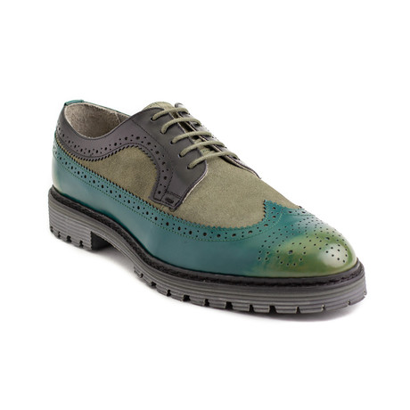 Ezra Leather Brogue Derby Dress Shoes // Green (EU 40)