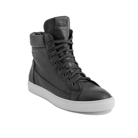 Malcom Leather Hi-Top Sneakers // Black (EU 40)