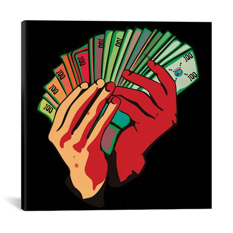 """Money Hands // Dai Chris Art (18""""W x 18""""H x 0.75""""D)"""