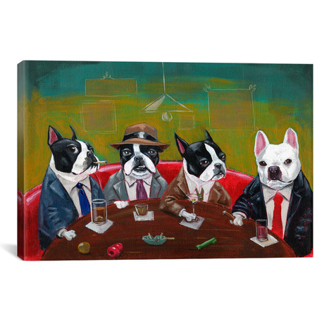 "Three Boston Terriers And A French Bulldog // Brian Rubenacker (26""W x 18""H x 0.75""D)"