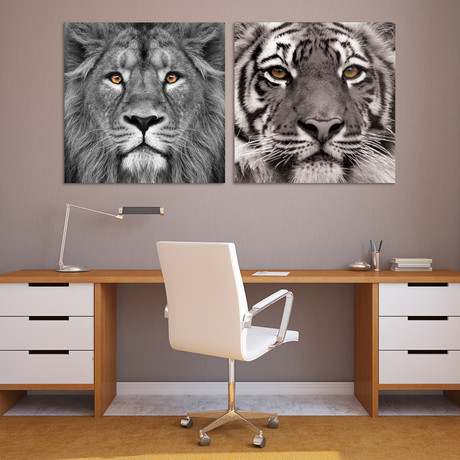 Jungle Animals // Reverse Printed Tempered Art Glass (Lion)