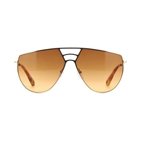 Chloe // Aviator Sunglasses // Gold + Brown