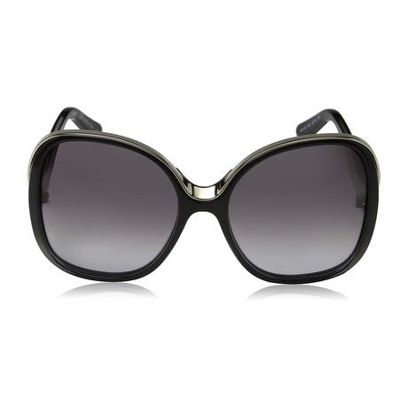 Chloe // Modified Rectangle Sunglasses // Black + Gray