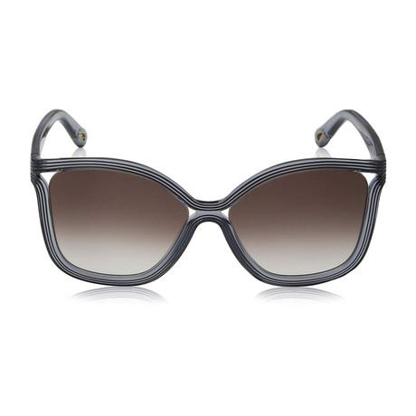 Chloe // Modified Rectangle Sunglasses // Blue + Gray